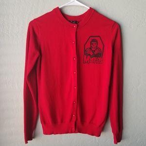 Sweaters - Red Misfits Cardigan Size Meduim